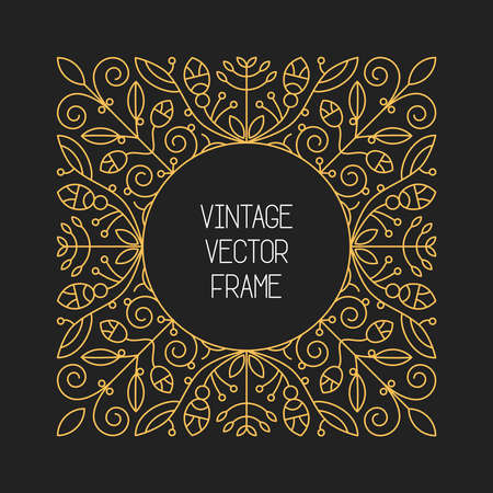 floral border frame: Vector vintage floral frame on black background in mono thin line style