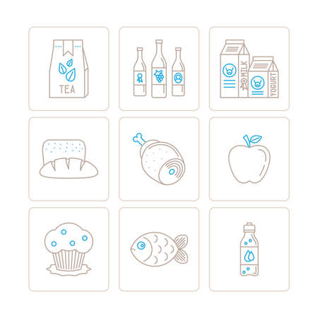 mono: Set of vector food icons and concepts in mono thin line style Illustration