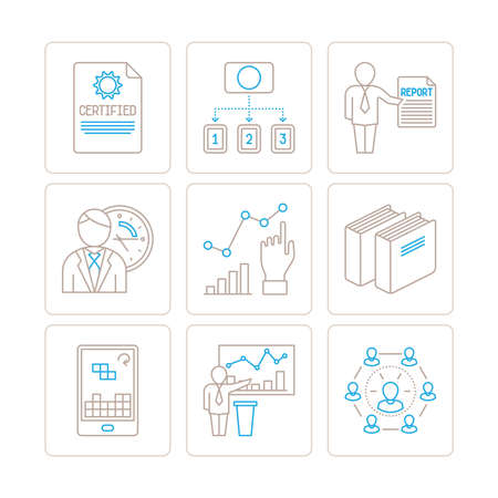 business finance: Set of vector business or finance icons and concepts in mono thin line style Illustration