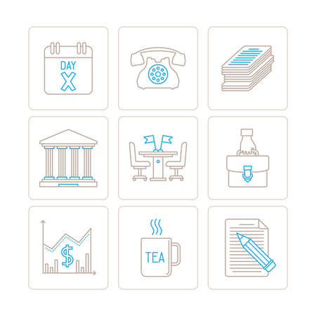 Set of vector business icons and concepts in mono thin line style Illustration
