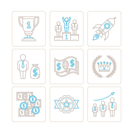mono: Set of vector business icons and concepts in mono thin line style Illustration