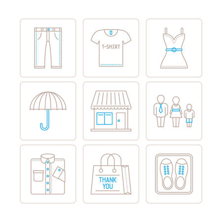 denim jacket: Set of vector clothes icons and concepts in mono thin line style Illustration