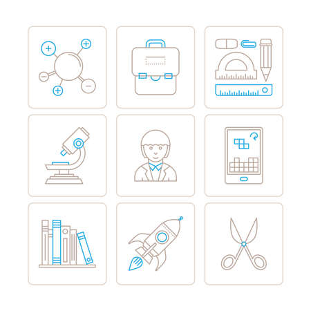 Set of vector education icons and concepts in mono thin line style
