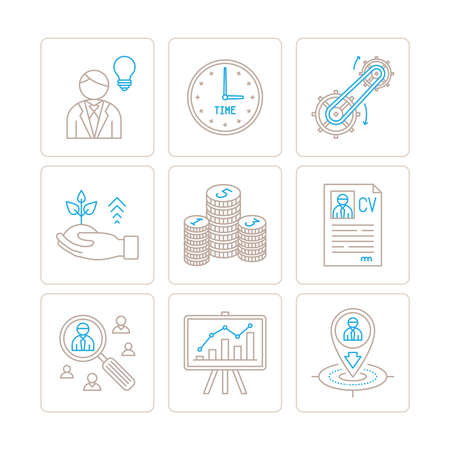 mono: Set of vector business or finance icons and concepts in mono thin line style Illustration