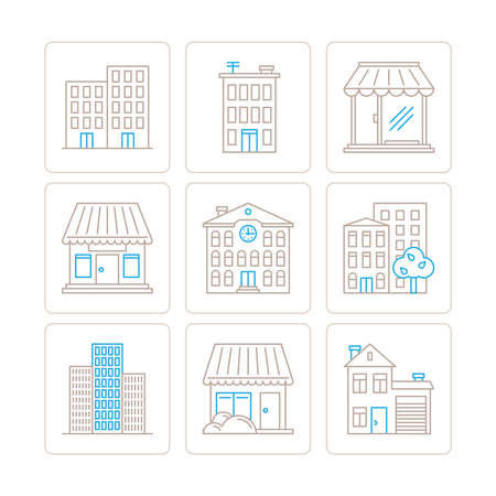 residental: Set of vector building icons and concepts in mono thin line style