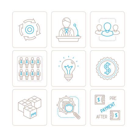 carga: Conjunto de iconos de negocio de vector y conceptos en el estilo de línea delgada mono