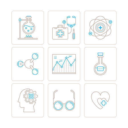 chemical material: Set of vector medical icons and concepts in mono thin line style
