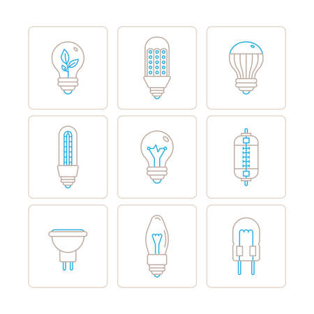 thin bulb: Set of vector light bulb icons and concepts in mono thin line style