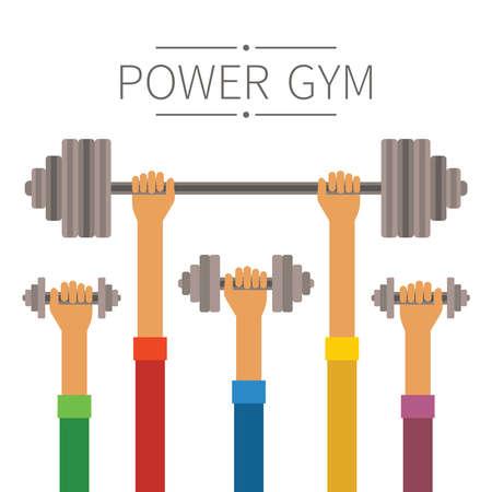 gym equipment: Le mani alzate con il concetto di impianti energetici palestra stile piatto Vettoriali