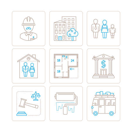 resettlement: Set of vector real estate icons and concepts in mono thin line style Illustration