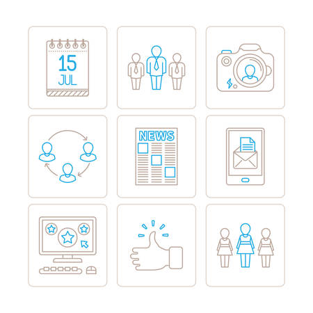woman tablet pc: Set of vector social networking icons and concepts in mono thin line style
