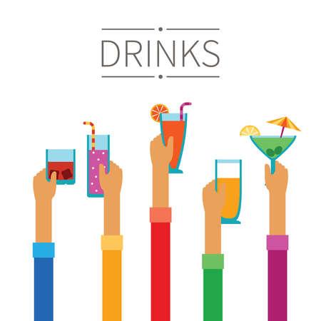 cocteles: Manos levantadas con bebidas y cócteles concepto en estilo plano Vectores