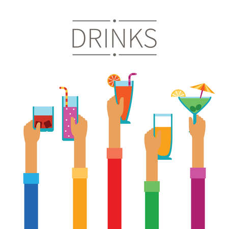 Raised hands with drinks and cocktails concept in flat style Stock Illustratie
