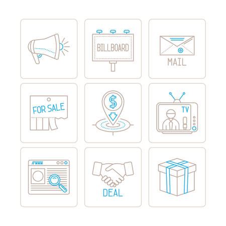business concepts: Set of vector business or marketing icons and concepts in mono thin line style Illustration