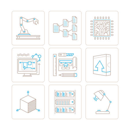 engeneering: Set of vector technology icons and concepts in mono thin line style