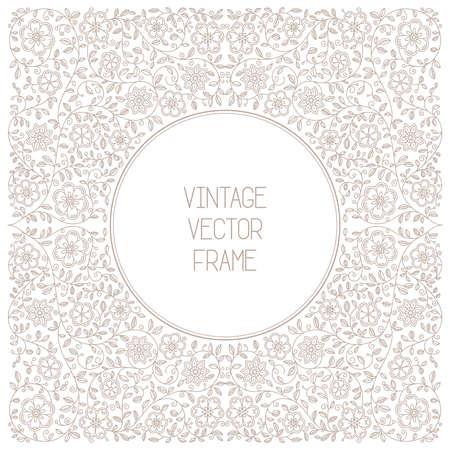 vintage floral frame: Vector vintage floral frame on white background in mono thin line style Illustration