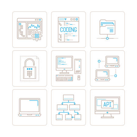 computer icons: Set of vector computer icons and concepts in mono thin line style Illustration