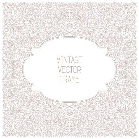 mono: Vector vintage floral frame on white background in mono thin line style Illustration