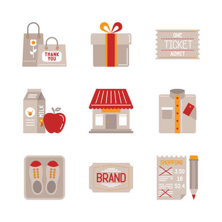 garment: Set of shopping icons and concepts in flat style Illustration