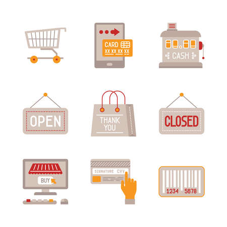 cvv: Set of shopping icons and concepts in flat style Illustration