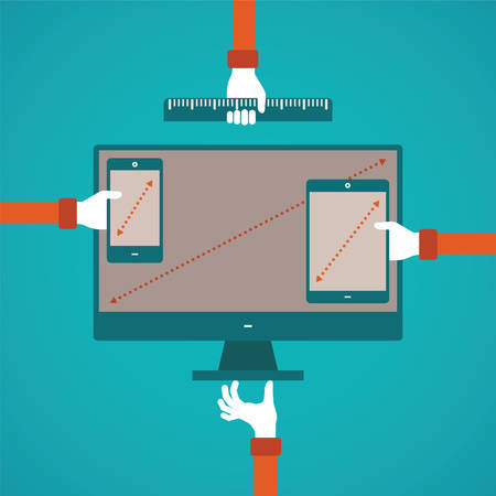 platform: concept of different gadget screen size compartibility in flat style Illustration