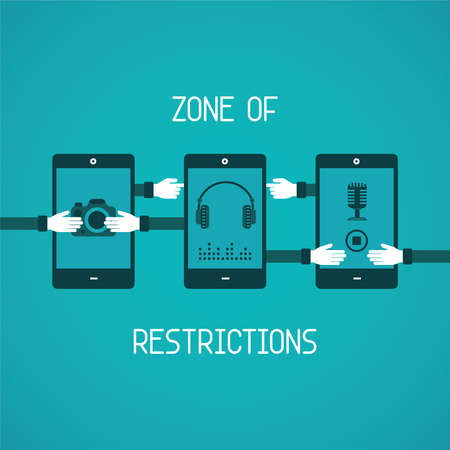restrictions: Zone of restrictions for gadget concept in flat style Illustration