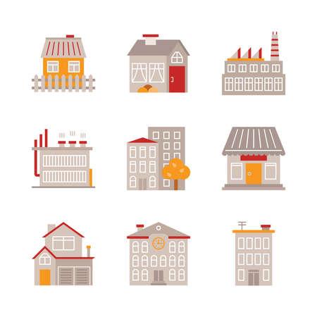 edificio industrial: Conjunto de construcción de iconos y conceptos de estilo plano