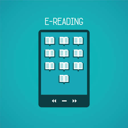 ereader: E-reading concept in flat style