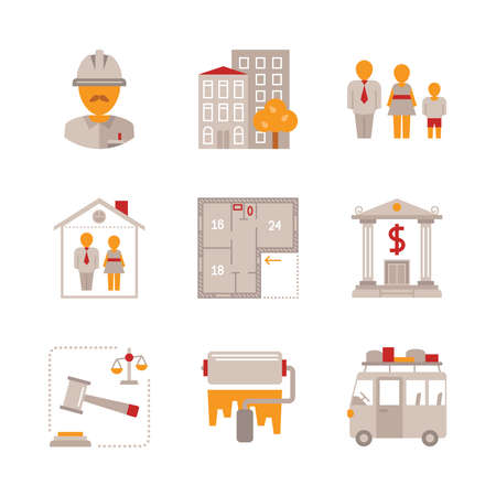 resettlement: Set of real estate icons and concepts in flat style