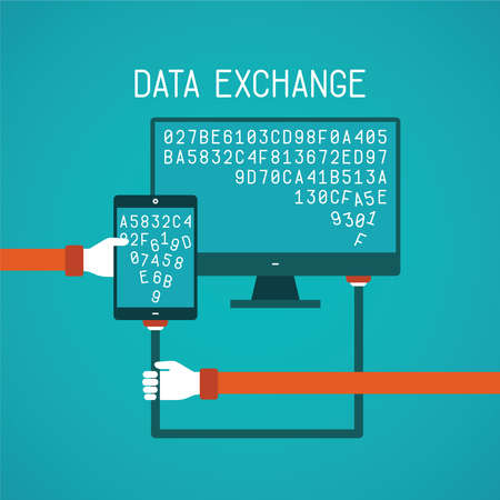 data exchange: Gadget and pc data exchange concept in flat style