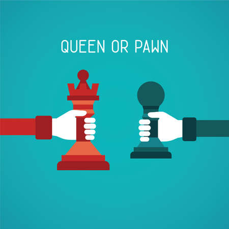 possibility: Queen or pawn abstract concept in flat style Illustration