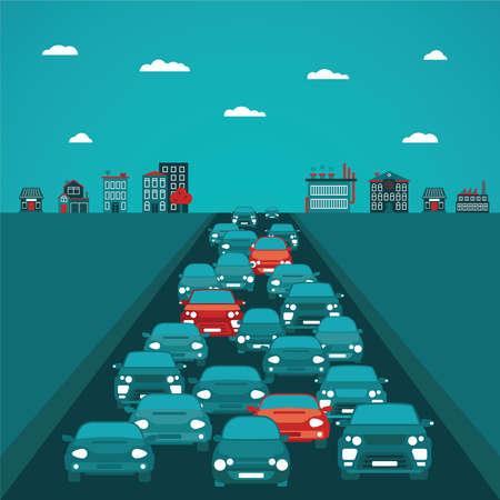 mermelada: Concepto de tráfico urbano en estilo plana