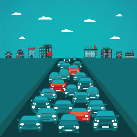 the traffic jam: Urban traffic concept in flat style