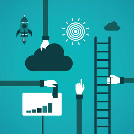 ladder: Business growth or career ladder concept in flat style