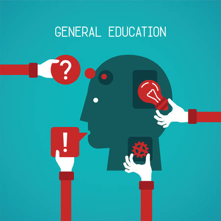 general: General education and creativity concept in flat style