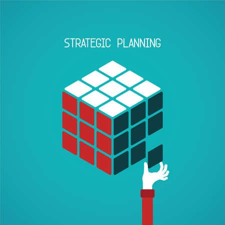 planificacion: Concepto de planificación estratégica en el cubo estilo plano