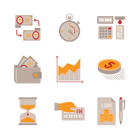 time: Set of business or finance icons and concepts in flat style Illustration