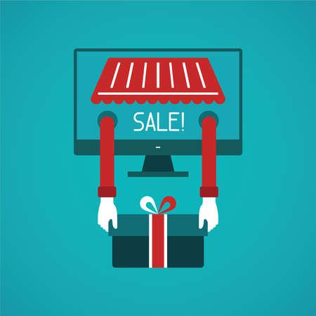 internet sale: Internet sale concept in flat style