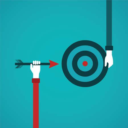 soyut: düz stilde Hedef başarı soyut bir kavram