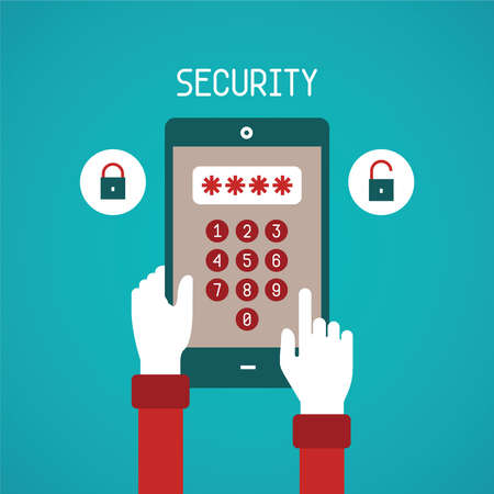 smartphone hand: concept of security system for mobile gadget in flat style Illustration