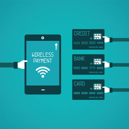 tablet pc in hand: Wireless payment concept in flat style Illustration