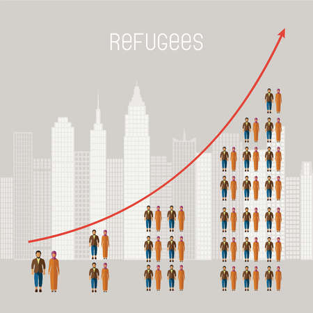 civil: Civil war refugees vector infographics. Emigrants from conflict zones. Illustration