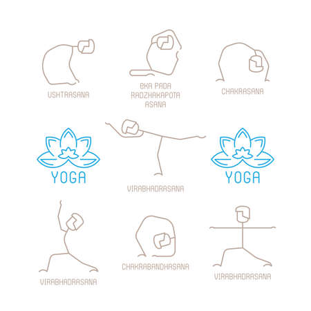 physical exercise: Yoga poses vector illustration in mono line style