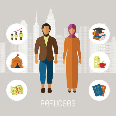 help: Civil war refugees vector infographic elements. Emigrants from conflict zones. Illustration