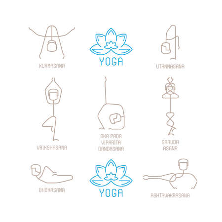 pose: Yoga poses vector illustration in mono line style