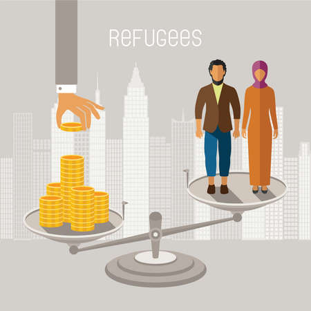 resettlement: Civil war refugees vector infographics. Emigrants from conflict zones. Illustration