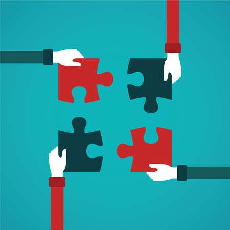 ビジネス: フラット スタイルのジグソー パズルとチームワーク抽象的なベクトルの概念  イラスト・ベクター素材