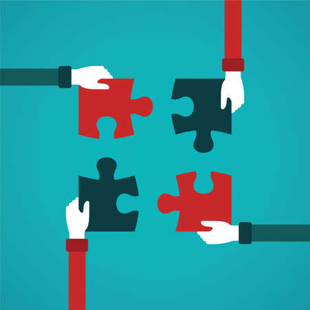 business teamwork: Teamwork abstract vector concept with jigsaw puzzle in flat style