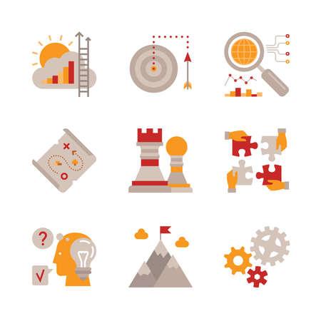 flecha: Conjunto de iconos de negocio de vector y conceptos de estilo plano Vectores