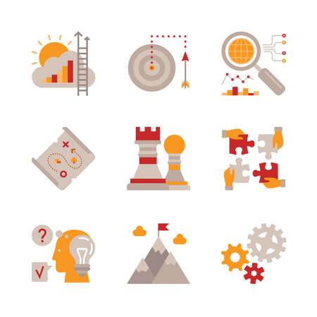 aim: Set of vector business icons and concepts in flat style